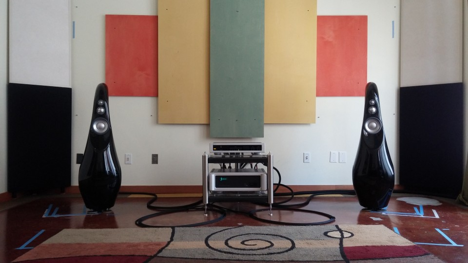 Music Lovers, San Francisco demo room with Vivid Audio GIYA G3's driven by the Spectral Amp & Preamp. PC - Maximilian Mroczkowski