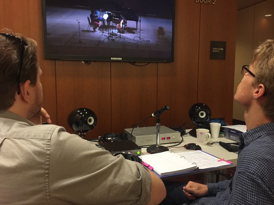 Kyle & Jesse monitoring intently with the Eclipse TD-508 MK II driven by the LUXMAN M-200 at the Control room at SOKA's Performing Art Center, Thursday 2 July 2015
