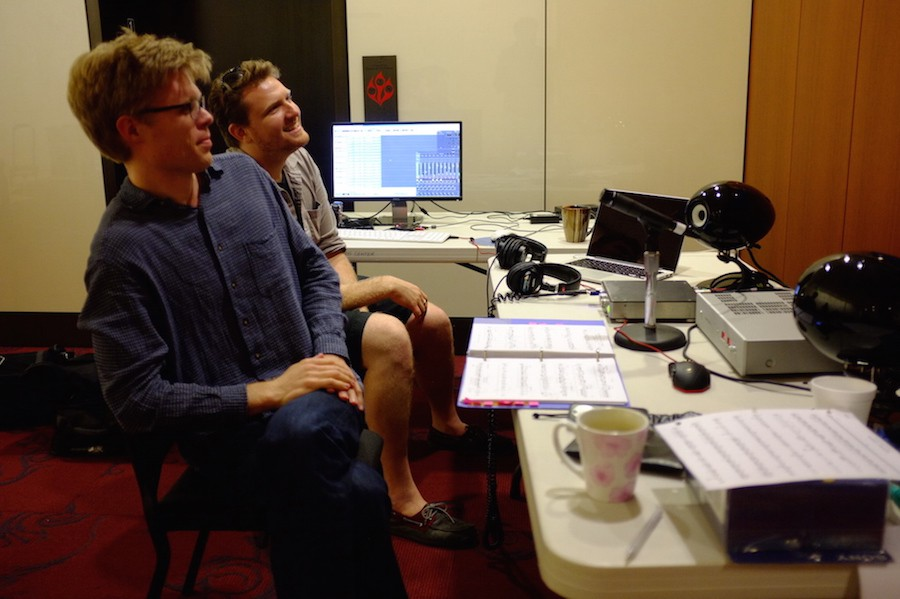 """Kyle (further) & Jesse (nearer) recording the session on  2X DSD with the Merging Technologies """"Horus""""."""