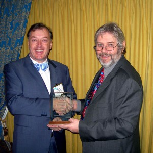 """Photo of Philip O'Hanlon with John Atkinson, editor of Stereophile at CES 2007, receiving the """"Amplifier of the Year"""" Award."""