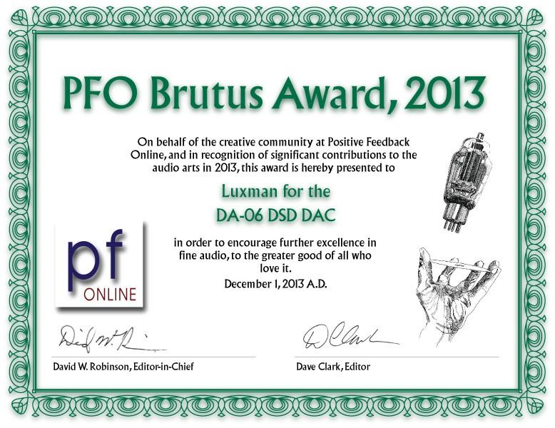 PFO Brutus Award, 2013 - Luxman DA-06