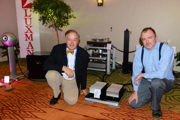 Philip O'Hanlon (left), of On a Higher Note, and Bruno Putzeys, the brilliant designer of Mola-Mola. Between them are a pair of Mola-Mola Kaluga monoblock amplifiers ($18,000/pair) being driven by the Mola-Mola Makua preamp ($13,450) with optional phono section ($2,500).