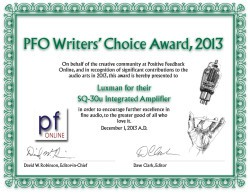 PFO Writers' Choice Award 2013 - Luxman SQ-30u