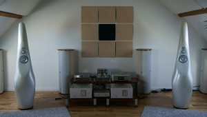 Pearl White Vivid Giya G1's powered by Luxman M-800A monoblocks