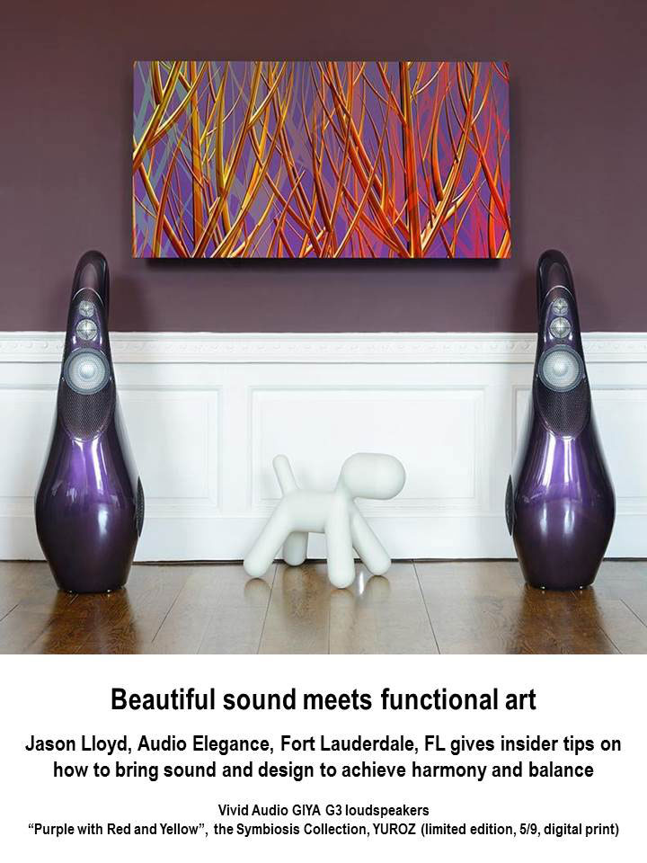 """Purple with Red and Yellow"" painting by Yuroz with Vivid GIYA G3 loudspeakers"