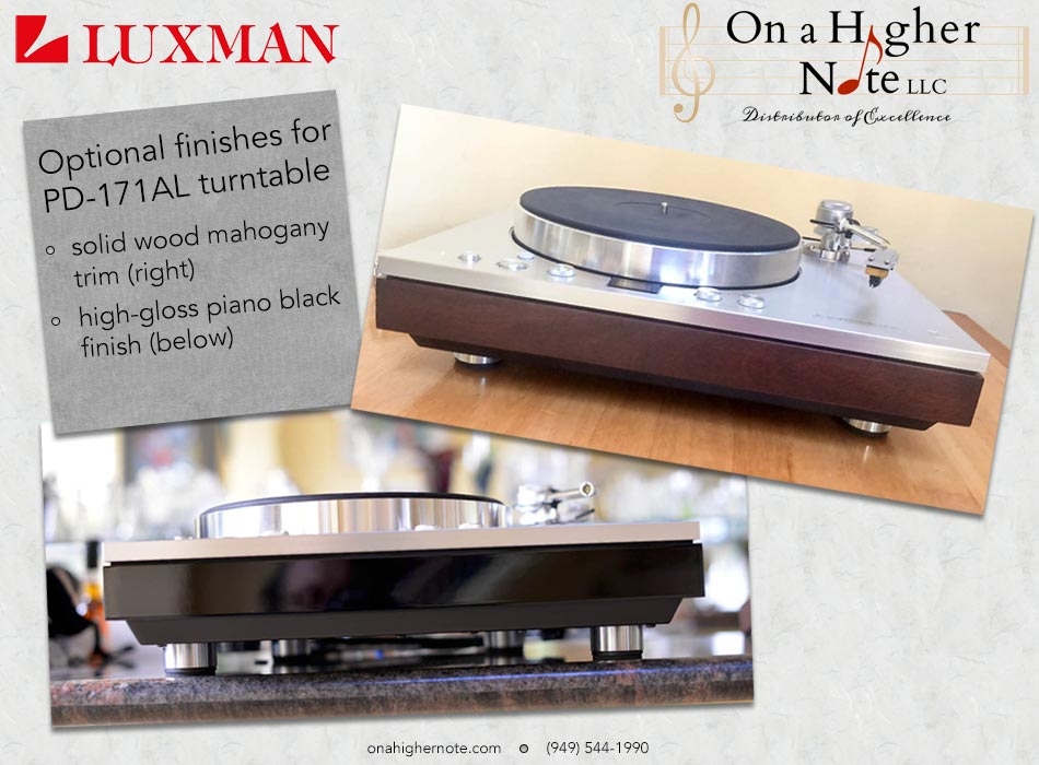 Luxman PD-171 turntable with optional Trim Finishes: Mahogany, Piano Black