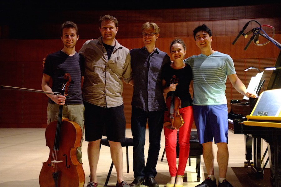 L - R  Ross Gasworth (cellist), Kyle (engineer), Jesse Lewis (producer), Iryna Krechlovsky (violinist) & Kevin Kwan Loucks (pianist).