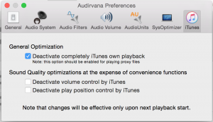 Audirvana iTunes Preferences