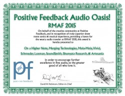 PFO Audio Oasis Award for On a Higher Note's Room at RMAF 2015