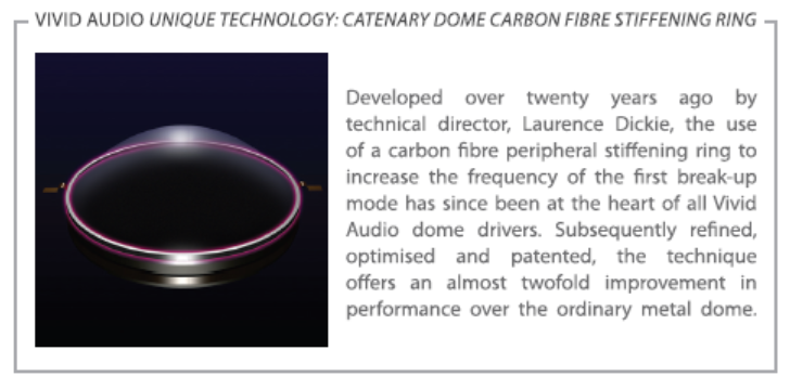 Vivid Audio catenary dome carbon fibre stiffening ring
