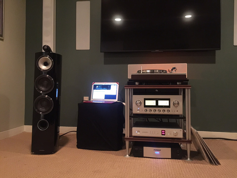 B&W 803 Diamond mk III speakers—on the rack: Luxman PD-171A, L-550aX, DA-06 and Furman line conditioner