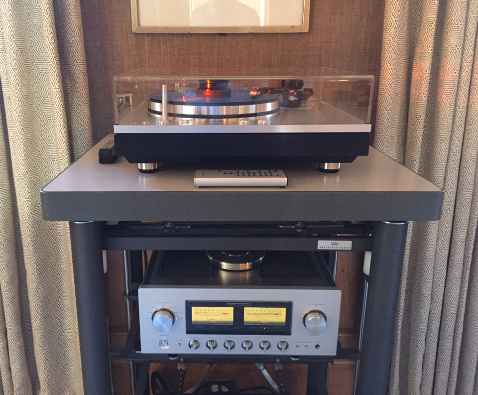 Exoteryc rack in gunmetal & Krion turntable platform