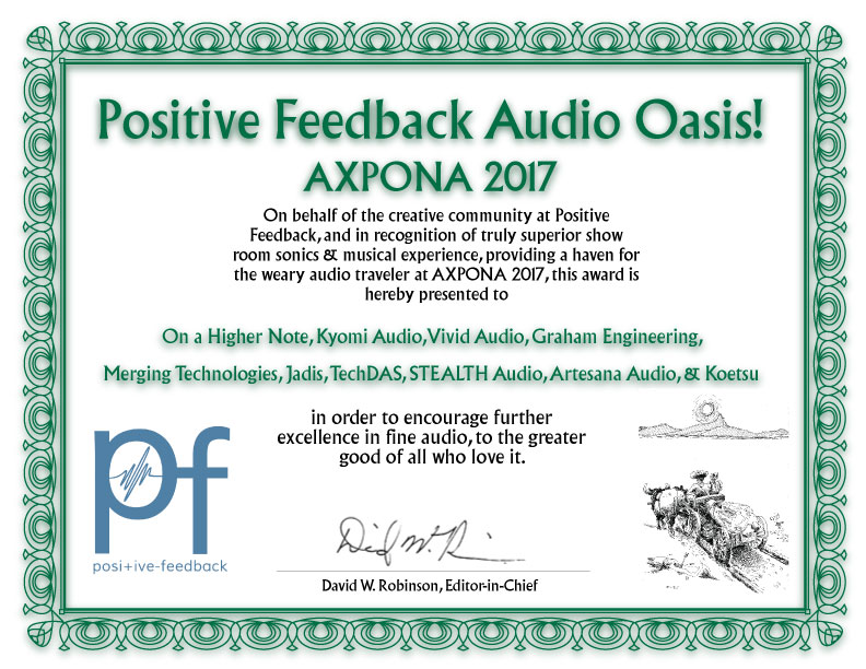 Audio Oasis Award for the On a Higher Note & Kyomi Audio