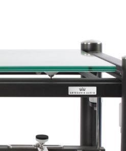 artesania treated glass shelf for exoteryc and prestige equipment racks detail